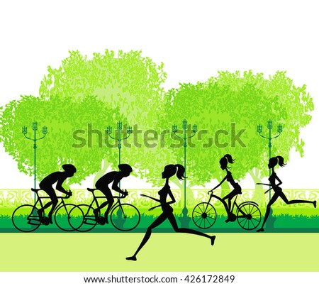 silhouette of marathon runner and cyclist race  - stock photo