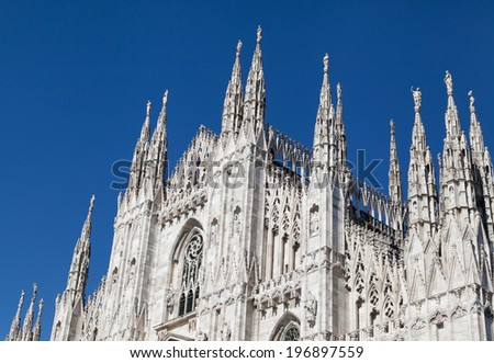 silhouette of Milan Cathedral (Duomo di Milano) which is cathedral church of Milan, Italy - stock photo