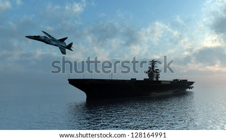 Silhouette of military aircraft and spacecraft. - stock photo