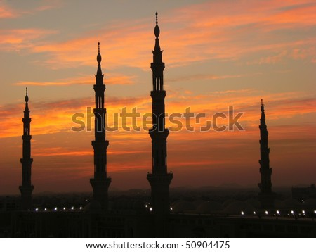 Silhouette of minarets of Masjid Al Nabawi or Nabawi Mosque (Mosque of the Prophet) in Medina (City of Lights), Saudi Arabia. Nabawi mosque is Islam's 2nd holiest mosque after Haram Mosque.