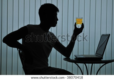 Silhouette of modern casual man - stock photo