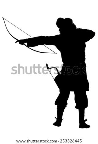 Silhouette of Mongol warrior with a bow on a white background - stock photo