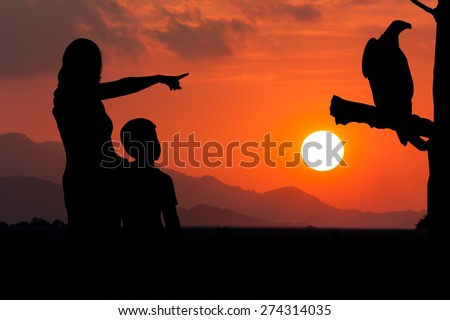 silhouette of mother and son point look at to eagle bird sitting on the timber sky on the sunset background - stock photo