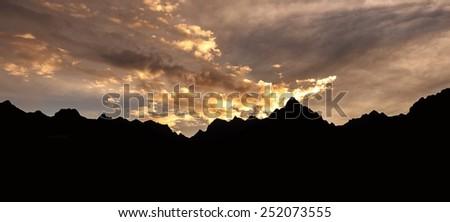 Silhouette of mountain andes range, Peru, South America, Machu Picchu. - stock photo