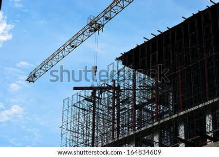 Silhouette of moving crane for builder man
