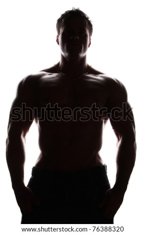 Silhouette of muscle sexy naked young man