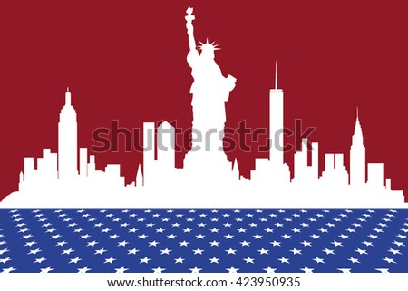 Silhouette of New York in the US flag colors