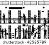 Silhouette of people in a library with all elements as separate objects - stock vector