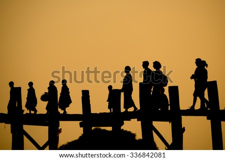 Silhouette of people life in Myanmar culture