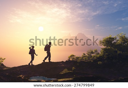 Silhouette of people near the mountain. - stock photo