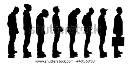 Silhouette of people waiting in line isolated on white background - stock photo