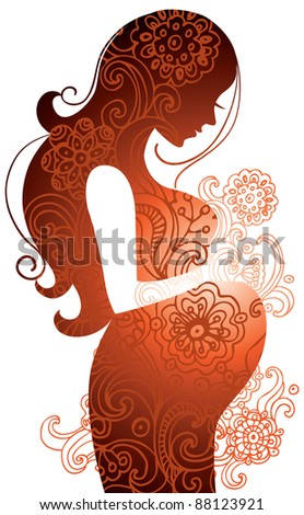 Silhouette of pregnant woman - stock photo