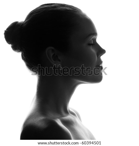 silhouette of pretty woman with pretty profile - stock photo