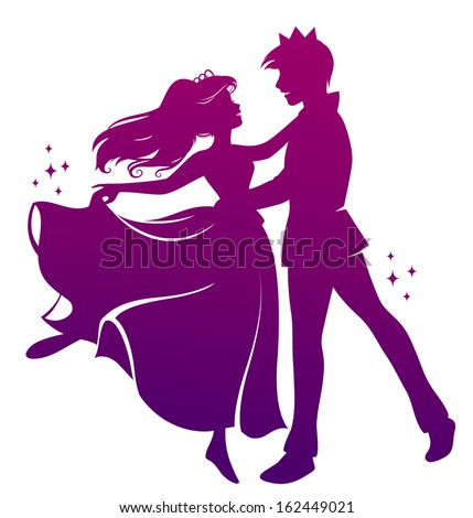 silhouette of prince and princess dancing together - stock photo