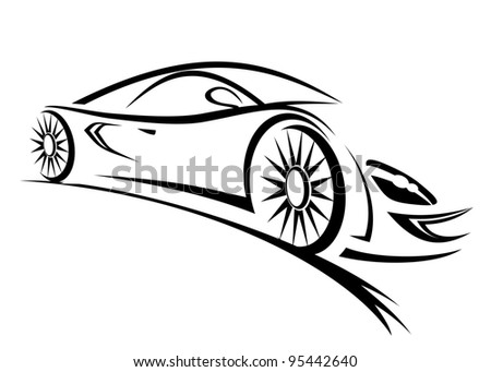 Silhouette of racing car for sports design - stock photo