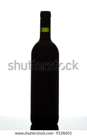 Silhouette of red wine bottle isolated on white.