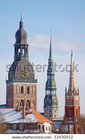 Silhouette of Riga cathedrals. - stock photo