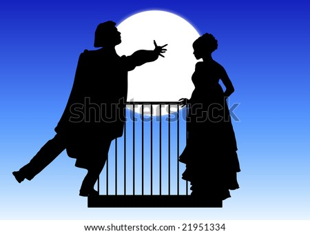 silhouette of Romeo and Juliet balcony scene - stock photo