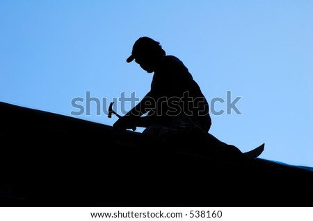 Silhouette of Roofer - stock photo