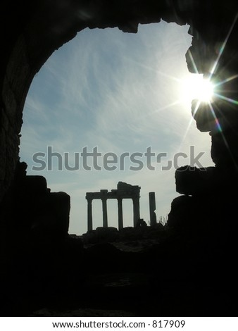 silhouette of ruins - stock photo
