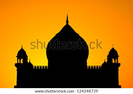 silhouette of Safdurjung Tomb in New Delhi - stock photo