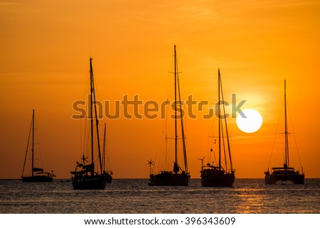 silhouette of sail boat on sea at sunset ,phuket,thailand
