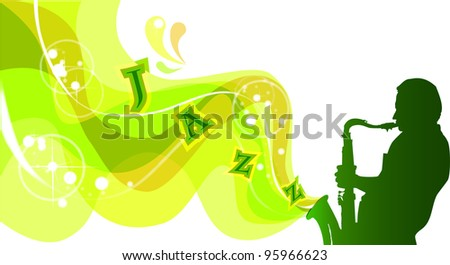 Silhouette of saxophonist, rasterized versions - stock photo
