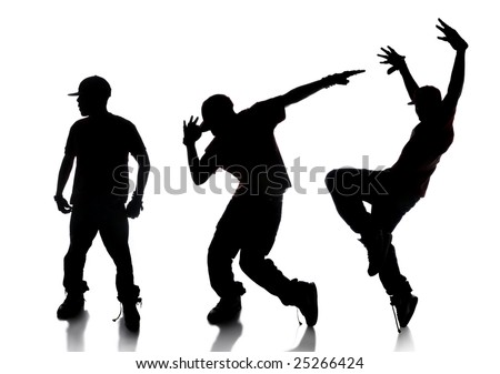 Silhouette of sequence of hip hop dancer over a white background - stock photo