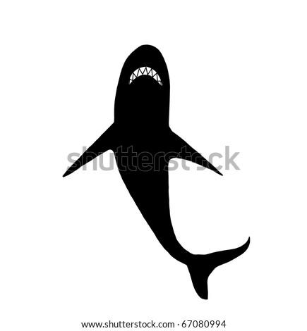 Silhouette of shark, illustration - stock photo