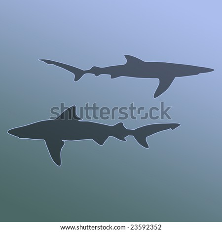 Silhouette of Sharks in Murky Gradient Blue Gray Water