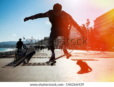Silhouette of Skateboarder jumping in city on background of promenade and sea. A dog barks at the skateboarder - stock photo