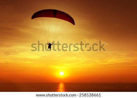 Silhouette of skydiver flies on background of sunset sky and sea - stock photo