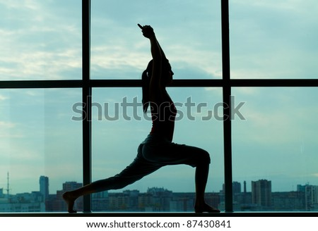 Silhouette of sporty girl doing physical exercise - stock photo