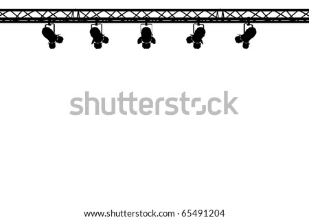 silhouette of stage lighting on white background - stock photo