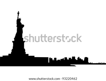 Silhouette of statue of Liberty and skyline of New York city. - stock photo