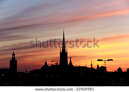 Silhouette of Stockholm, The City Hall, Riddarholm cathedral. Sweden - stock photo