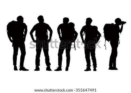 Silhouette of Success man mountain climber with white background - stock photo