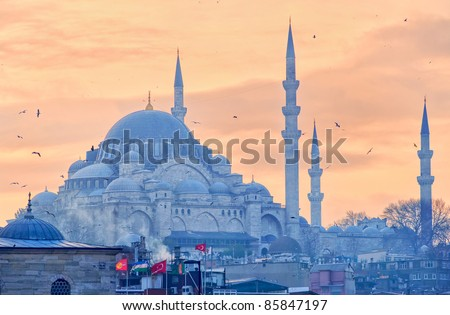 Silhouette of Suleymaniye Mosque in Istanbul on sunset - stock photo