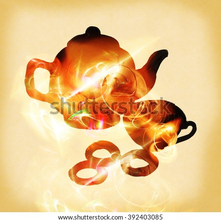 Silhouette of teapot, cup and bagels, painted paint - stock photo