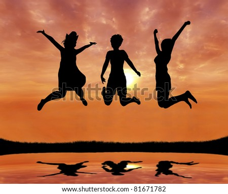 silhouette of teen girl friends jumping with joy at sunrise - stock photo