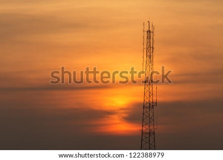 Silhouette of telecommunications tower