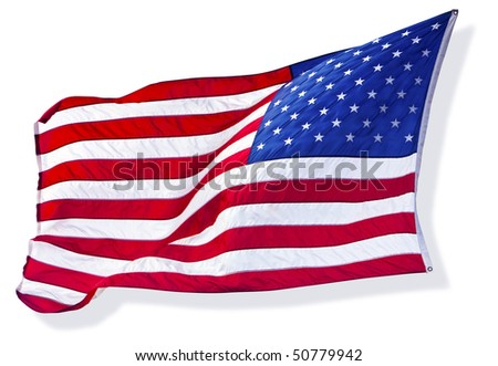 Silhouette of The American Flag - stock photo