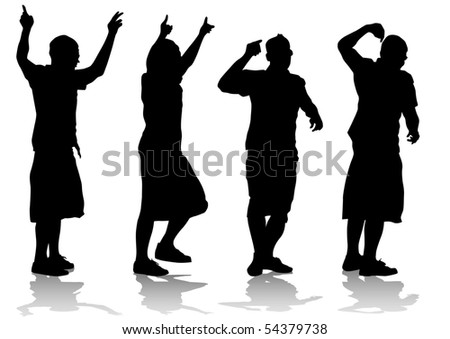silhouette of the artists of hip hop. A live performance on stage - stock photo