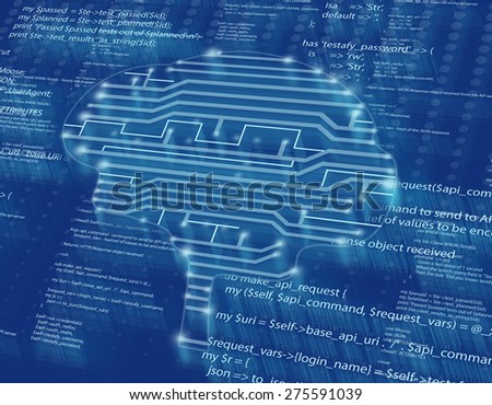 silhouette of the brain in form drawing circuits. - stock photo