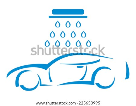 Silhouette of the car at the car wash - Illustration - stock photo