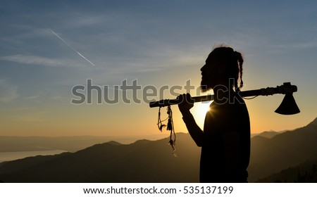 silhouette of the character, warrior