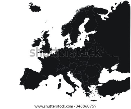 Silhouette of the Continent Europe