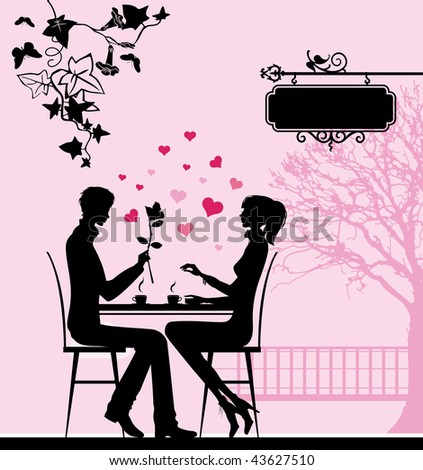 Silhouette of the couple in the cafe. Raster version of vector illustration. - stock photo