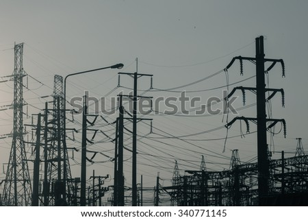 silhouette of the electricity plant - stock photo