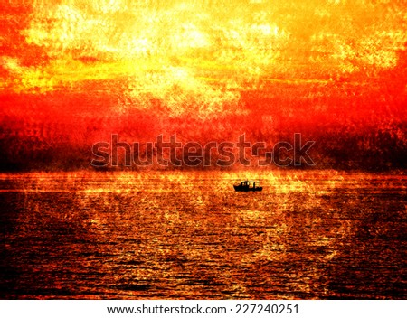 Silhouette of the fisherman boat sailing at dramatic sunset with saturated sky and clouds. Apocalyptic background. Escape and Survival ideas. Retro aged photo with scratches.  - stock photo